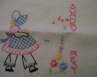 Embroidered  Towel VINTAGE Sunday 1960s Sun Bonnet Sue Days of the Week