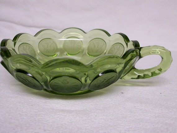 Elegant Fostoria Dish Petite Nappy Handled Coin Glass OLIVE GREEN Reduced On Sale Reduced Price