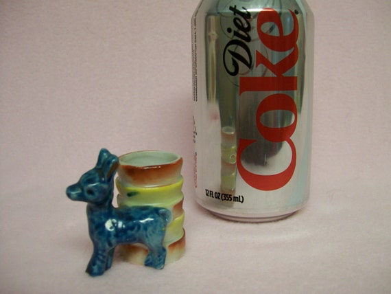 Occupied Japan Toothpick Holder Donkey Burro Mule Hand Painted Reduced Now on Clearance