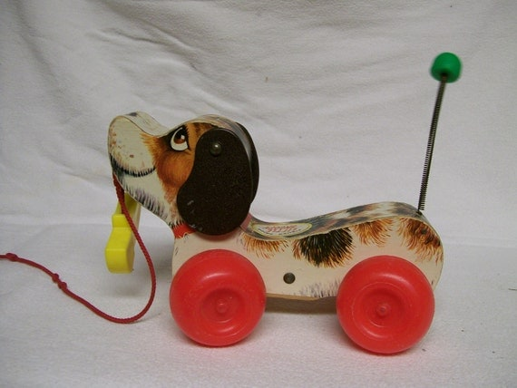Vintage Fisher Price Little Snoopy Pull Toy Wood Plastic Wheels Metal Tail Now On Sale