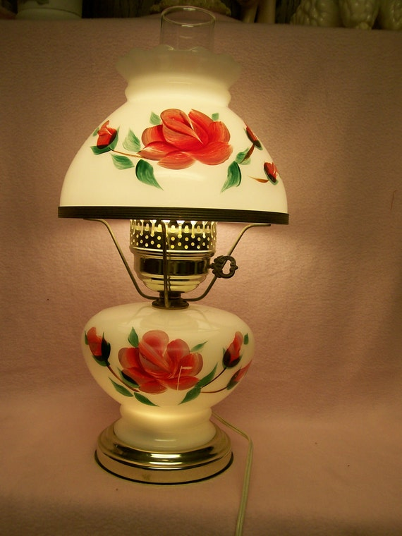 Vintage Hurricane Lamp Hand Painted Beautiful Pink on White