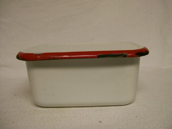 Vintage Enamelware Container for Leftovers Refrigerator Keeper Red & White Enamel On Sale Just Reduced