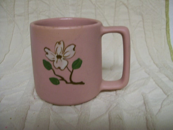 Pottery Mug Pink Dogwood Pigeon Forge Pottery Co  Pigeon Forge Tennessee VINTAGE