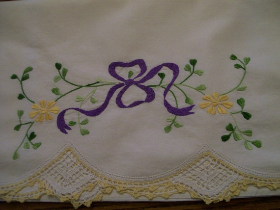 2 Vintage Embroidered Pillowases Hand Crocheted Lilac Bow Yellow Flowers Beautiful