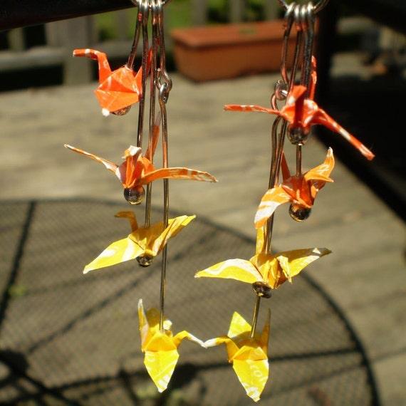 Positively Sunny Flock of Cranes Earrings