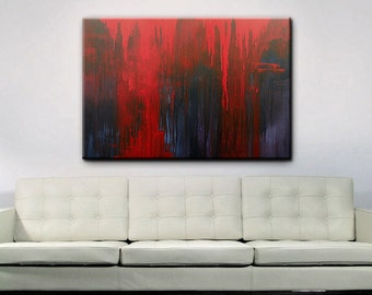 Abstract Art - Original Abstract Acrylic Painting - Red Black Art Painting - 48 x 36 - Shipping included within Continental US