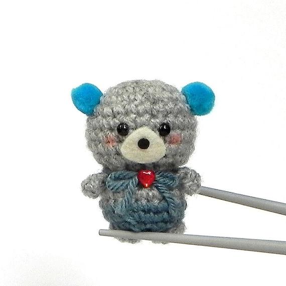 Amigurumi Ocean Blue pom pom ears BBQ MochiQtie mochi size