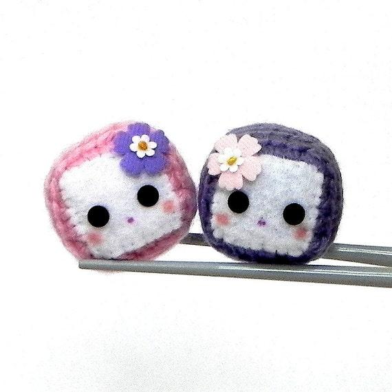 Amigurumi magnet - Cherry Blossom Cubie MochiQties - Crochet Amigurumi Mochi size mini cube doll
