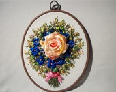 Rose  violets Hand Embroidered Floral Silk Ribbons Wall Decor Birthday pink blue green