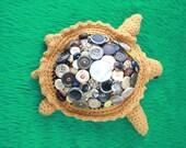 Button Shell Hand Knit Wool Tortoise