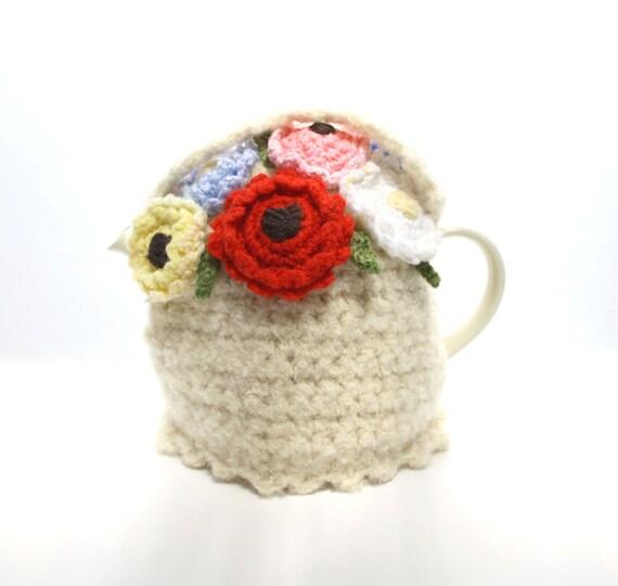 Bright Rainbow Blooms Flower Basket Cream Tea Cosie