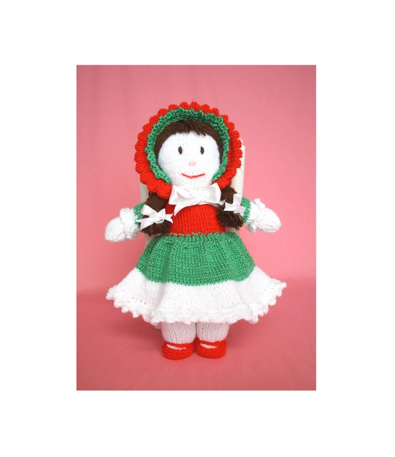 Cute Red Green and White Dressed Doll