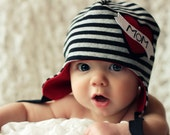 size NEWBORN ONLY - the original LINCOLN earflap beanie,  great photography prop