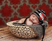 size NEWBORN only, the LINCOLN baby beanie with wide stripes, great photography prop