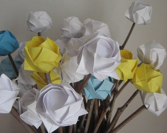 Mother's Day bouquet - everlast paper flower-origami roses on natural twigs - 18 stems