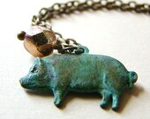 Rustic Verdigris Pig Pendant Necklace by LillyandLulu Winter Shabby Chic, Country, Farm, Hog, Under 25
