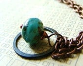Deep Teal Faceted Glass and Rustic Copper Necklace by lillyandlulu, Under 25