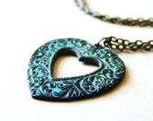 SALE : 25% OFF Heart Verdigris Necklace by LillyandLulu, Filigree, Valentines Day, Love, Girlfriend, Mom, Under 25