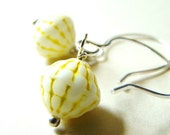 Basketweave Yellow and White Vintage Glass and Sterling Silver Earrings by Lillyandlulu, Easter, Spring,