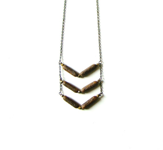 Tribal Inspired Vintage Carved Lucite and Brass Long Necklace by lillyandlulu