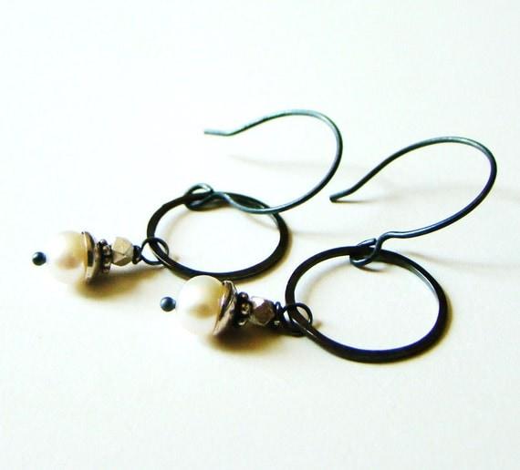 Rustic Pearl and Oxidized Sterling Silver Hoop Earrings LillyandLulu