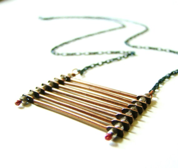 Industrial Stacked Copper & Oxidized Sterling Ladder Necklace by LillyandLulu Under 50