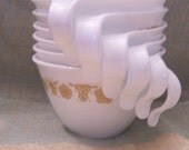 Set of 6 Vintage Corelle Butterfly Gold Coffee/Tea Cups