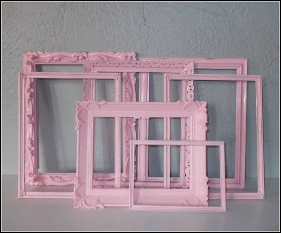 Upcycled Vintage Frames - Shabby Chic Pink - Distressed -Set of 7 -  Paris Apartment - Country Cottage