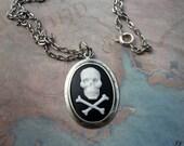 ON SALE Skull & Cross Bones Cameo Necklace