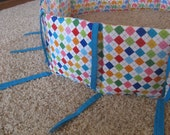 Custom crib bumper for oval or round crib, also works for regular cribs