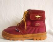 Vintage Kangaroo Boots/Shoes Burgandy, Water Resistant size 8 women
