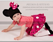 EXCLUSIVE Hand Crochet Baby Girl Minnie Mouse Outfit Cap diaper cover with skirt and shoes -  Pink or Red