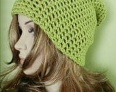 SALE !! HIPPIE HAT Women Teen  Cap  crochet  Slouchy Hat, Rasta Cap, Big Beanie , all seasons slouch hat in green color