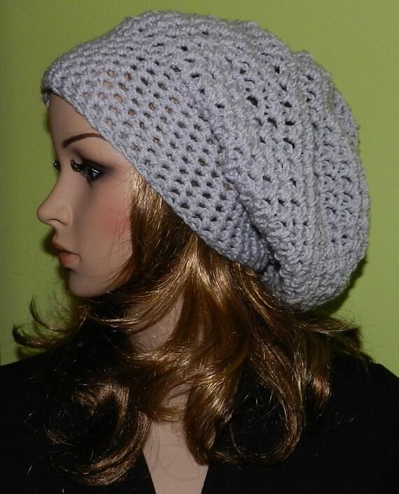 Sale  - All Season HIPPIE Hat  Women Teen  Large Hat crochet Large Slouch Cap , Rasta Cap, Big Beanie,  slouch hat  Summer Light Gray