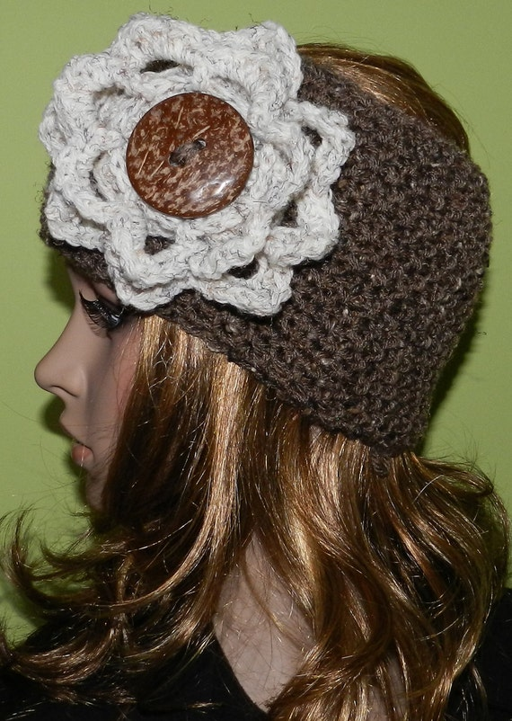 Sale - Hand Crochet Womens Headband Head Warmer Headwrap Headband in Barley color with wheat big flower and big eco button