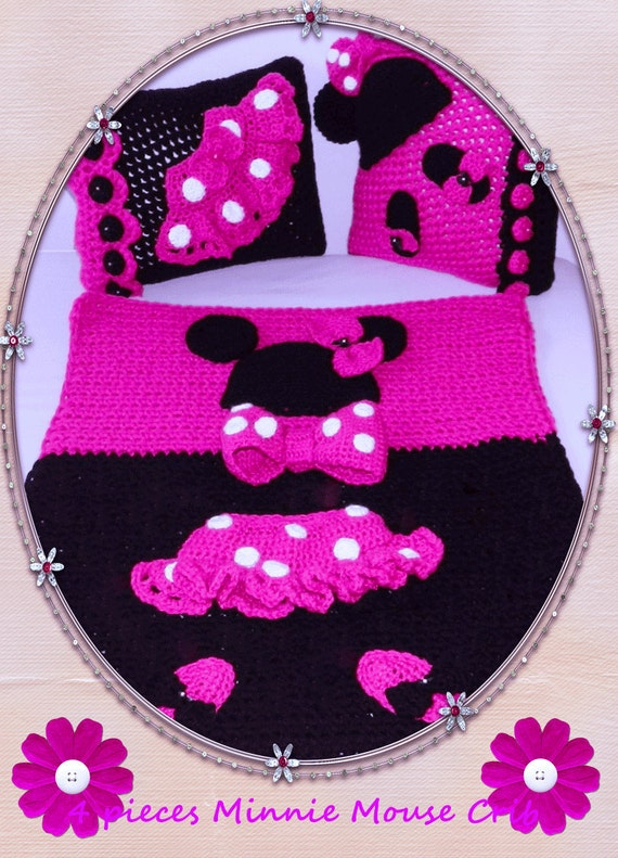 Unique Christmas Gift Idea Lower Price just this weekend Handcrochet Minnie Mouse Crib 4 pieces Set Blanket Pillows Diaper BAG