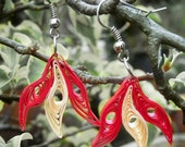 Handmade Dual Colour Flower Paper Quilled Earrings