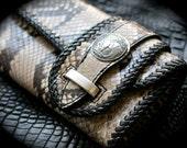 SALE ! Leather Men Women Wallet - Genuine Exotic Python Skin Trifold Long Biker Wallet - Buffalo Nikel Concho (Reserved)