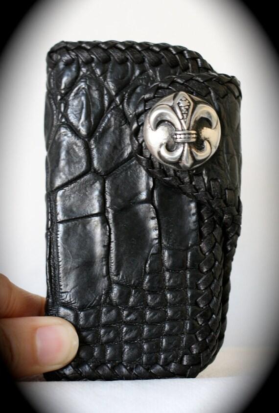 Leather Key Holder - Black Genuine Exotic Crocodile Leather - Royal Lily Concho