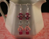 Breast Cancer Awareness Earrings with Lampwork Beads and Sterling Silver Awareness Ribbon Beads