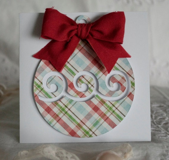 Handmade Christmas Cards Greeting Cards Plaid Ornament Style 6