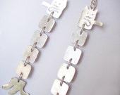Long Cat Earrings - Hammered Sterling Silver - Cute Kitty Dangle Chain Earrings