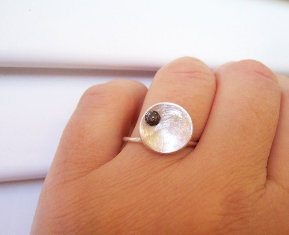 Modern Circle Ring Sterling Silver Brushed with Oxidized Black Pebble - Contemporary Statement Ring