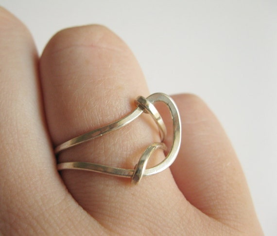 Double Curve Ring - Hammered Sterling Silver Ring - Modern Abstract Wire Wrapped Ring