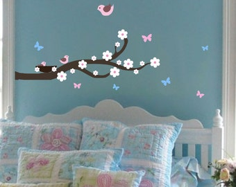 Branch Wall Decal For Kids Nursery Decals Birds Flowers Wall Decals Baby Girl Nursery Decal Baby Boy Nursery Decal Bedroom Wall Stickers