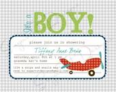 It's A Boy Invitation, Boy Baby Shower Invitation, Airplane Baby Shower Invitation, Airplane Invitation- Printable