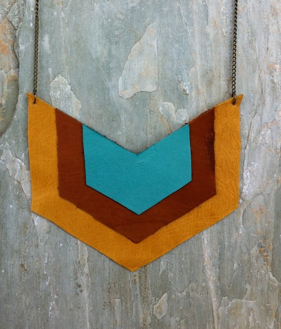 CYBER MONDAY SALE Leather Chevron Pendant Necklace with Tan, Brown, and Teal Leather on Antiqued Brass Chain