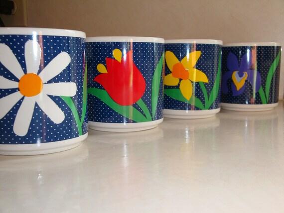 Coffee Mug or Tea Mugs Vintage Set of Four Flower Mugs - K14