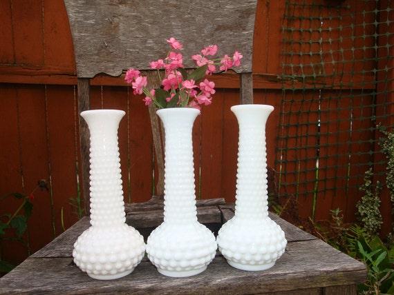 Milk Glass Vases Three E. O. Brody Hobnail Vintage- D27