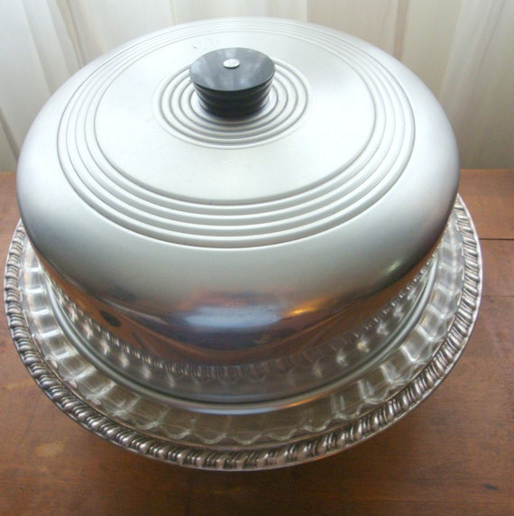 Sale Vintage Glass Cake Plate With Aluminum Cover Lid Retro